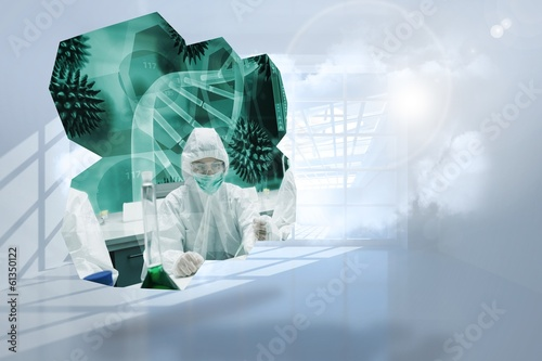 Composite image of scientists on abstract screen