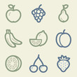 Fruits web icons, money color set