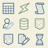 Database web icons, money color set