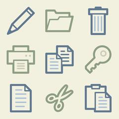Document web icons, money color set