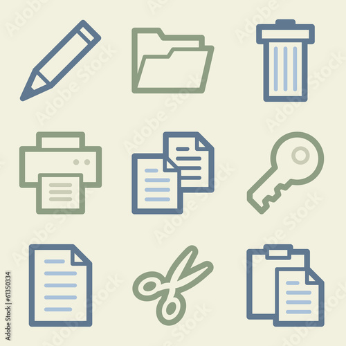 Document web icons, money color set