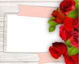 Wood Background with Roses