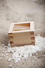 A wooden vessel for drinking sake