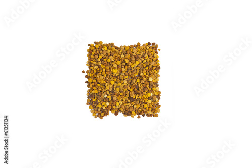 Healthy bee pollen on white background