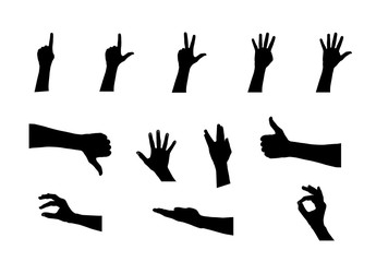 Black Set of Hand. Vector Illustration