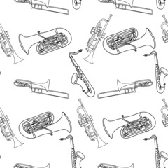 Brass Musical instruments seamless pattern