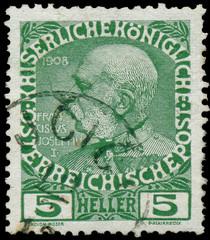 AUSTRIA - CIRCA 1908: stamp printed by Austria, shows Franz Jose