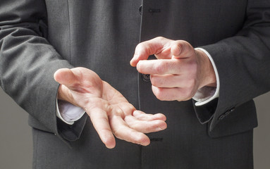 strong business man hands talking