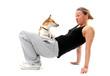 Hund und Frauchen machen Sport