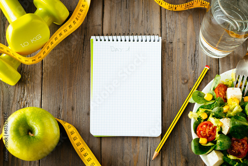 Plexiglas Voorgerecht Fitness and healthy food lifestyle concept