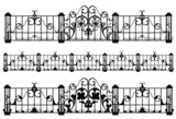 wrought iron fence and gate detailed outlines