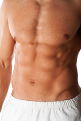 close up image of muscular perfect male torso