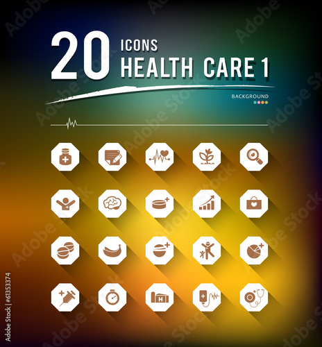 Health care twenty icons design background, vector