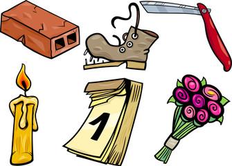 objects cartoon clip arts illustration set