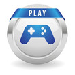 Round play button with blue ribbon