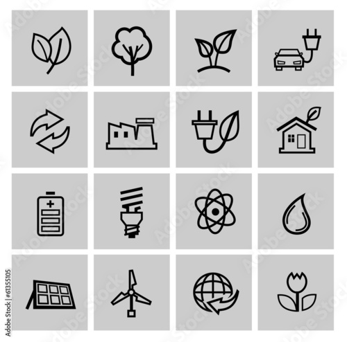 vector black eco energy icons set