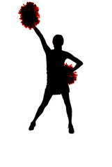 girl cheerleader silhouette with one hand up in air