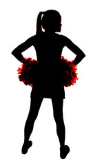 young girl cheerleader silhouette with hands on hips