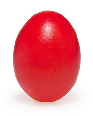 Red easter egg isolated on white background with clipping path