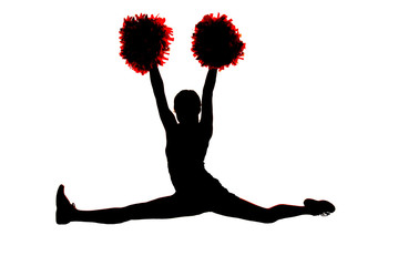 Young girl cheerleader silhouette doing the splits with hands in