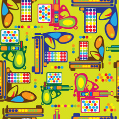 multicolored gun toy seamless pattern