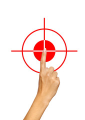 Hand pointing, touching, choosing or pressing on target icon
