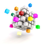 Fototapety 3d abstract cubes on white background
