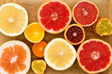 Colorful festive assortment of citrus fruit