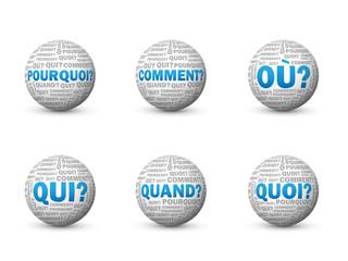"""Globes """"QUESTIONS"""" (info réponses FAQs aide pourquoi comment)"""