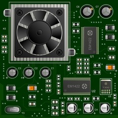 Green circuit board with electronic components.