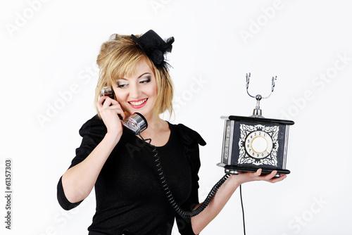 girl with retro phone