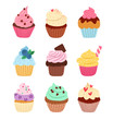 Little delicious cupcakes vector set