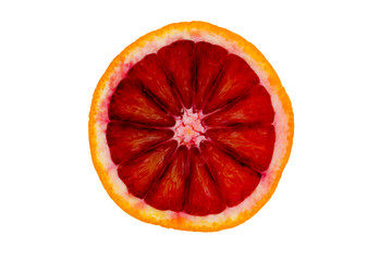 Slice of deep red ruby grapefruit