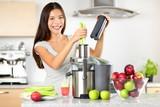 Fototapety Vegetable juice raw food - healthy juicer woman