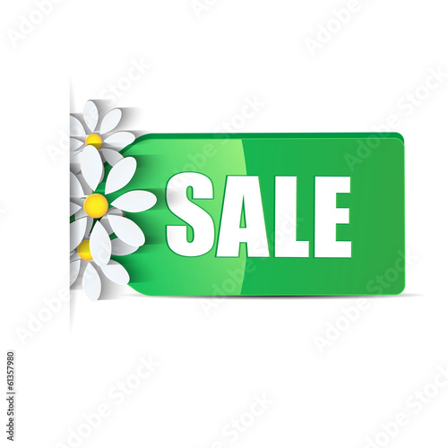 seasonal sale.green label decorated with white daisies isolated