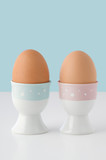 Two Brown Eggs in Patterned Eggcups