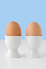 Two Brown Eggs in Eggcups
