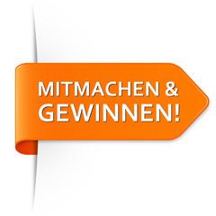 Langer orangener Sticker Pfeil - Mitmachen & Gewinnen