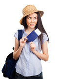 Young woman holding passport on holiday