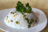 Cooked rice with vegetables