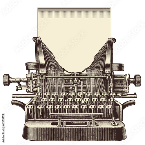 front view of a vintage typewriter with a blank sheet of paper