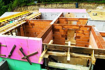Baustelle eines Einfamilienhauses