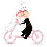 Funny wedding couple on bicycle vector