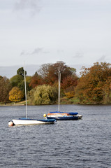 A veiw of Yachts on a lake in autumn