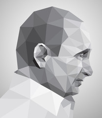 Profile of  man in origami style