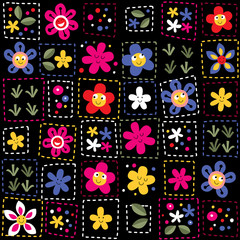 happy flowers pattern