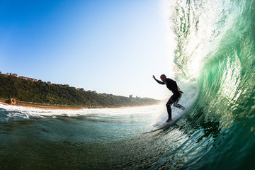 Surfer Dropping Hollow Wave