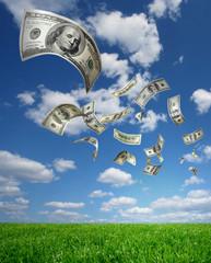 .Falling Money $100 Bills