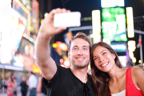 Dating young couple happy in love taking selfie Manhattan, USA.