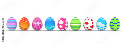 Plexiglas Egg colorful easter eggs in a row